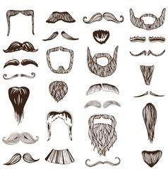 Set of hand drawn Moustache Mustache vector image vector image