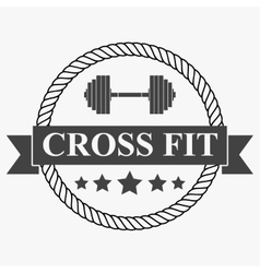 Vintage cross fit and workout Labels vector image