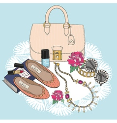 Fashion essentials Background with bag sunglasses vector image vector image
