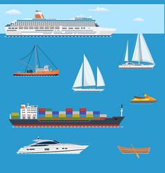 set of flat yacht scooter boat vector image