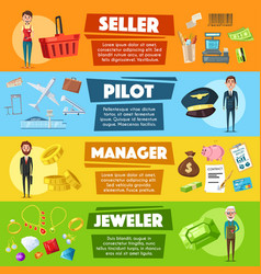 banners seller pilot manager or jeweler vector image vector image