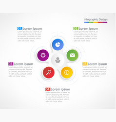 Business infographic design template with 5 steps vector