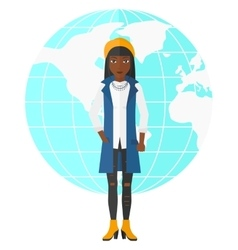 Business woman standing on globe background vector