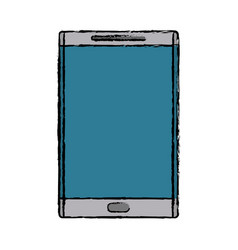 drawing smartphone device mobile blue screen vector image vector image