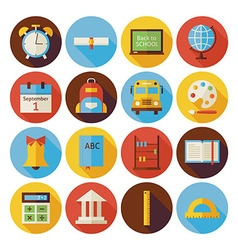 Flat Back to School Circle Icons Set with long vector image vector image