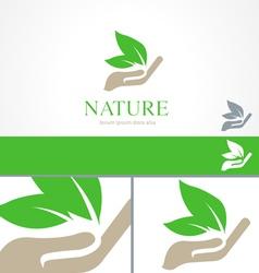 Hands Leaf Green Nature Natural Logo Template vector image