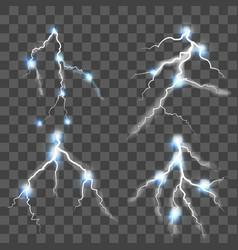 lightning set on transparent background vector image vector image