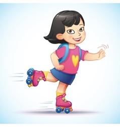 Little asian girl rides on roller skates Teen vector image