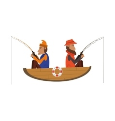 men fishing on boat icon vector image