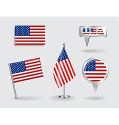 Set of American pin icon and map pointer flags vector image vector image