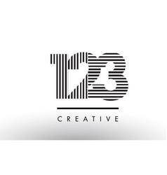 123 black and white lines number logo design vector