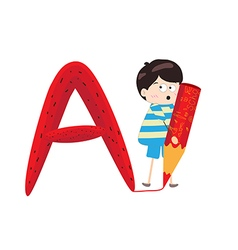 A Kid Leaning on a Letter A vector