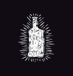 alcohol bottle in linocut style vector image
