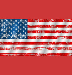 american flag waving in grunge style vector image