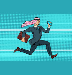 arab businessman runs forward phone and briefcase vector image