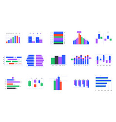 bar charts trends statistic graphic timeline vector image