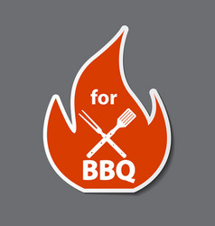 Bbq icon sticker with grill tools vector