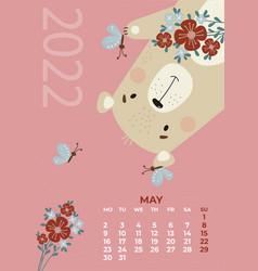Bear calendar may 2022 cute with a bouquet vector