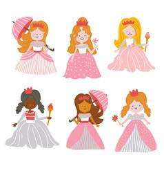 Big bundle cute collection beautiful princesses vector