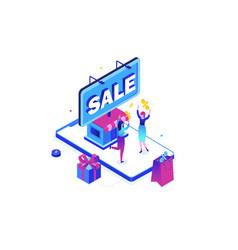 big sale - modern colorful isometric vector image