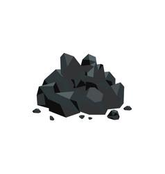 Black coal stones flat style vector
