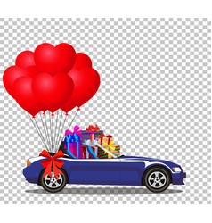 blue opened cabriolet car full of gifts with vector image