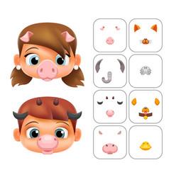 Boy girl cartoon selfie application photo items vector