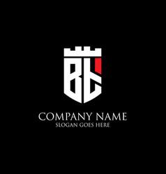 Bt initial shield logo design inspiration crown vector