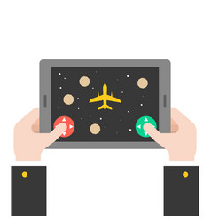 business hand holding tablet playing spaceship vector image