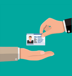 businessman hand gives business card vector image