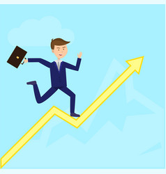 businessman running on growth arrow to summit flat vector image