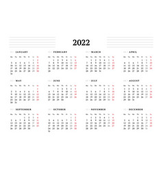 Calendar template for 2022 year stationery design vector