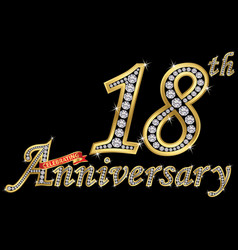 celebrating 18th anniversary golden sign with vector image