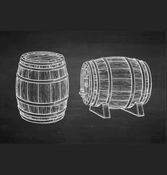 chalk sketch barrels vector image
