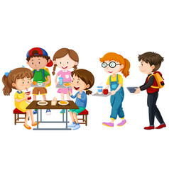 Children having lunch on table vector