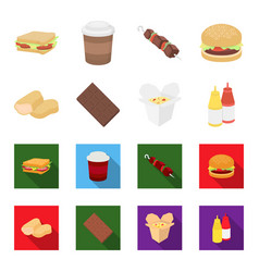 Chocolate noodles nuggets saucefast food set vector