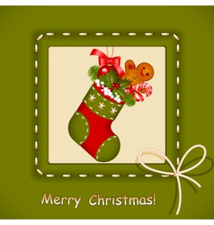 Christmas card stocking vector