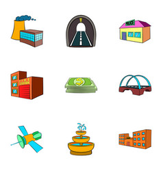 city objects icons set cartoon style vector image
