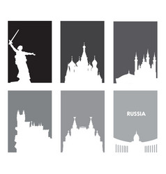 collection of gray touristic posters with white vector image