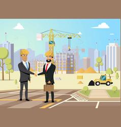 construction business partners flat concept vector image