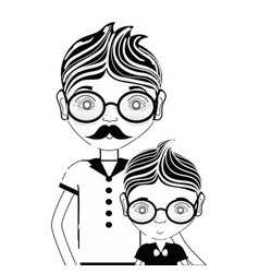 contour father with his son using glasses vector image
