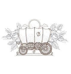 Contour image of covered wagon and roses outline vector