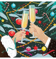 Couple clink glasses near Christmas tree outdoors vector