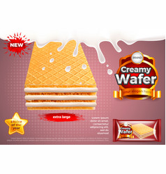 Creamy wafer in milk splashes ads background vector