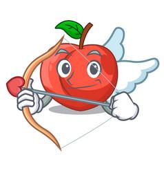Cupid nectarine with leaf isolated on cartoon vector