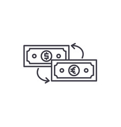 currency exchange line icon concept currency vector image