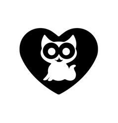 cute kitty in heart black icon love symbol vector image