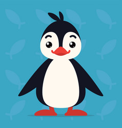 Cute penguin standing and smiling vector