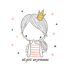Cute princess girl fashion for kids vector