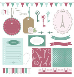 cute scrapbook design elements set vector image